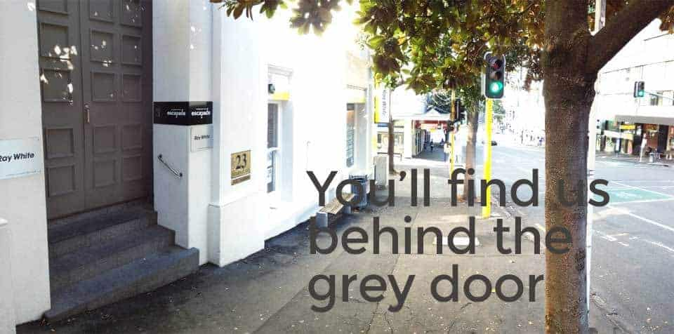 Find Escapade NZ behind the grey door at 23 Victoria Street East, Auckland city.