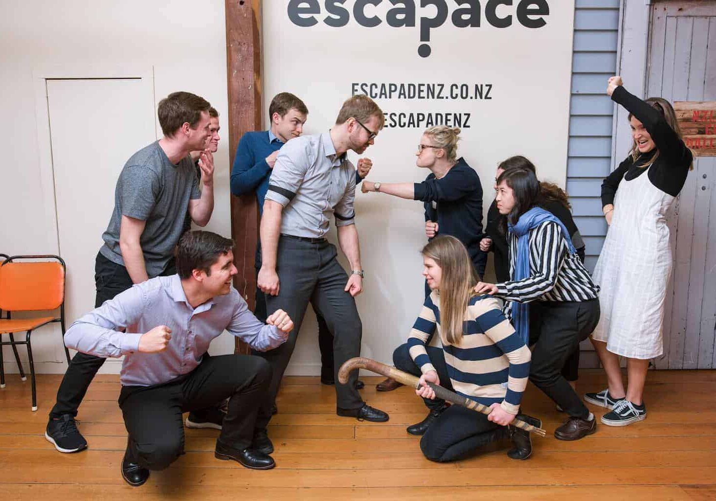 Escape Room Auckland - two teams about to do the Head-to-Head challenge